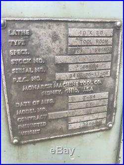 1964 Monarch 20 10EE Module Drive ELSR Tool Room Lathe