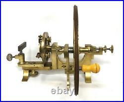 19th Century Antique Watchmakers Mandrel Brass Lathe by J & T JONES PRESCOT
