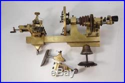 Antique Brass Handcrank Watchmakers Horologist Lathe with Toolrest & Cross Slide