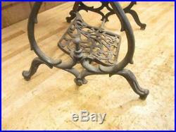 Antique Cast Iron Treadle Lathe Scroll Saw Ornate Base Make End Table