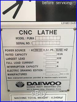 Daewoo Puma 200LC CNC Lathe 2000, 8 Chuck, Tailstock, Tool Presetter, Barfeed