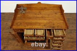 Farmhouse Antique Watchmaker's Bench With Foot Pedal Lathe #39041