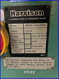 Harrison M300 Gap Bed Precision Engine Lathe 13 x 24 Collet Closer 5C Tooling