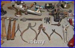 Jewelers tool lot Boley Lathe silversmith hammer vise & anvil pliers punches die