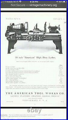 Lathe 20 American Tool works