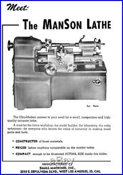 Manson Small Machines Inc. Mini Lathe Master Lathe 1948 Rare -VIDEO in Desc