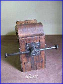 Old Primitive Carpentry Carpenter Press Wood Wooden Lathe Vise Clamp Tool 1900