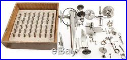 Vintage Derbyshire Watch Lathe With Collets Set Accessories and Tools Antique