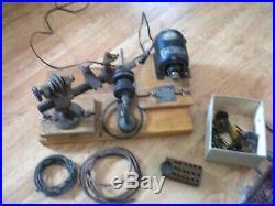 Vintage small Machinery mini wood lathe w tool kit and motor