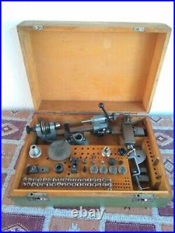 Watchmakers Lathe Andrä & Zwingenberger/ Präzima, DDR with accessories in box